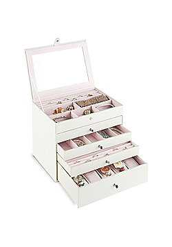 Beautify Jewellery Box with 4 Drawers - White Snake Skin Print with Pink Velvet Lining