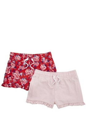 F&F 2 Pack of Floral and Plain Ruffle Hem Shorts Pink/Red 3-4 years