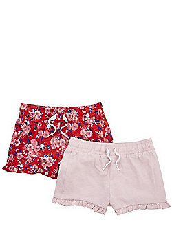 F&F 2 Pack of Floral and Plain Ruffle Hem Shorts - Pink/Red