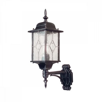 Black Silver Up Wall Lantern - 1 x 100W E27