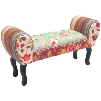 Shabby Chic Chaise Pouffe Stool / Wood Legs - Multi-coloured