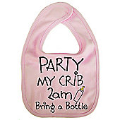 Dirty Fingers, Party my Crib 2am, Baby Feeding Bib in Pink