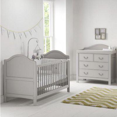 East Coast Toulouse 2 Piece + Sprung Mattress Nursery Room Set - Grey
