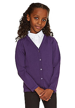 F&F School Girls Scallop Trim Cardigan with As New Technology - Purple