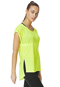 F&F Active Side Split Burnout T-Shirt - Lemon
