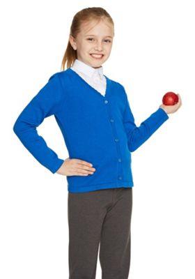 F&F School Girls Scallop Trim Cardigan with As New Technology 4-5 yrs Blue