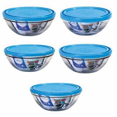 Duralex Stacking Glass Lunchbox / Kitchen Bowls With Lids - Set of 5