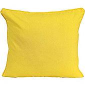 Homescapes Cotton Plain Yellow Scatter Cushion, 60 x 60 cm
