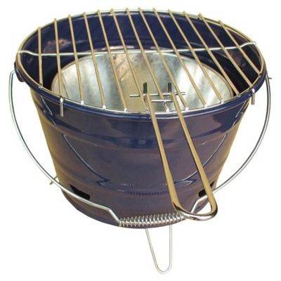 Tesco Small Charcoal Bucket BBQ, Navy Blue