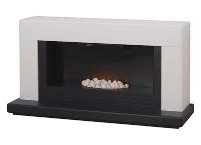 Adam Carrera Fireplace Suite in Pure White & Grey