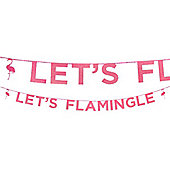 Let's Flamingle Pink Glitter Letter Banner - 3m