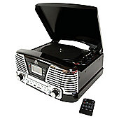 GPO Memphis Turntable with FM Radio and CD Black