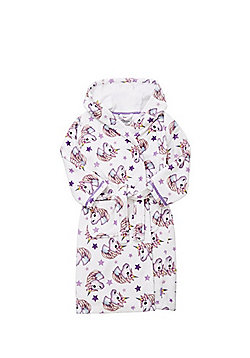 Emoji Unicorn Print Hooded Dressing Gown - White & Purple