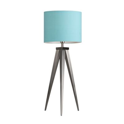 Caligula Large Brushed Chrome Tripod Table Lamp & Duck Egg Blue Rolla Shade