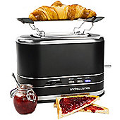 Andrew James Lumiglo Toaster 2 Slice With Warming Rack - Matt Black