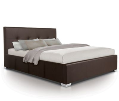 Buttoned Designer Oversized Ottoman Gas Lift Storage Bed Upholstered in Faux Leather - King - Brown