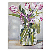 Pink Painted Tulips Printed Canvas 77cm x 57cm