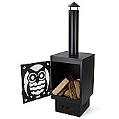 Buho Black Metal Garden Chiminea