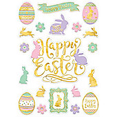 Happy Easter Window Decorations - Embossed Window Stickers