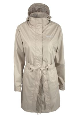 Indra Womens Showerproof Lightweight Hooded With Belt Long Coat Jacket