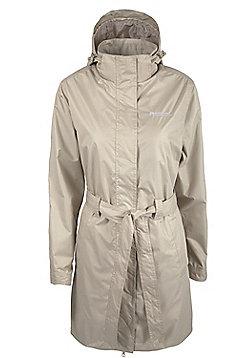 Indra Womens Showerproof Lightweight Hooded With Belt Long Coat Jacket - Beige