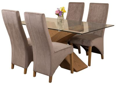 Valencia Small Oak 160cm Modern Glass Dining Set Table and 4 Grey Fabric Chairs