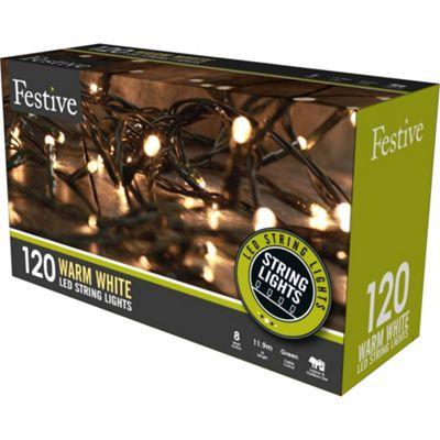 Multi-Function Warm White LED Christmas String Lights - 120 Bulbs