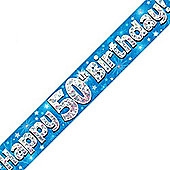 Oaktree Blue Holographic 50th Birthday Foil Banner - 9ft