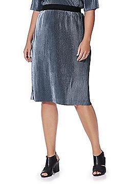 Junarose Velour Plisse Plus Size Skirt - Silver