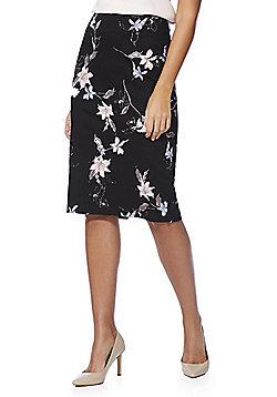 F&F Floral Print Sateen Pencil Skirt - Black & Multi