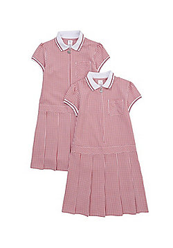 F&F School 2 Pack of Permanent Pleat Gingham Dresses - Red & White