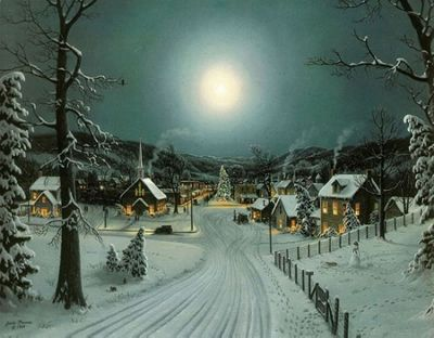 Snowy Village Christmas Scene LED Light Up Canvas