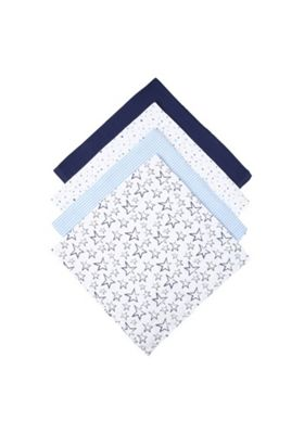 F&F 4 Pack of Muslin Squares Blue/White One Size