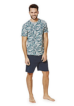 F&F Leaf Print T-Shirt and Shorts Loungewear Set - Grey