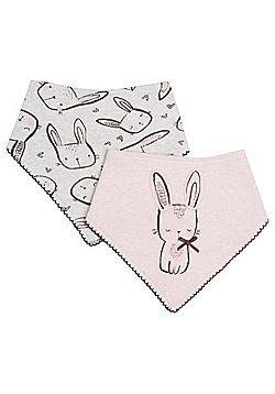 F&F 2 Pack of Bunny Dribble Bibs - Pink & Grey