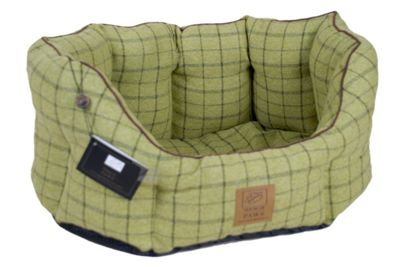 House of Paws Tweed Oval Dog Bed in Green - Medium (55.88cm W)
