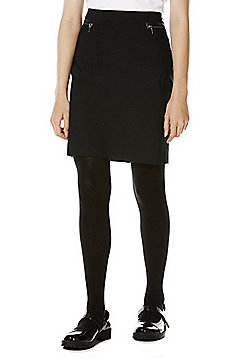 F&F School Zip Pocket Pencil Skirt - Black