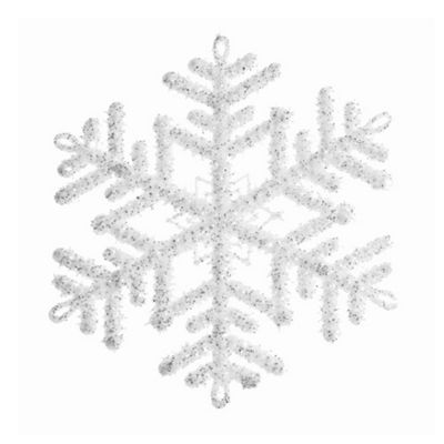 White & Silver Glitter Snowflake Hanging Decoration - 12cm