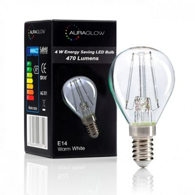 Auraglow 4w G45 Golf Ball Filament LED Vintage Light Bulb - E14 - WARM WHITE