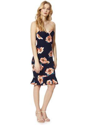 AX Paris Floral Print Flute Hem Strapless Dress Navy/Orange 14