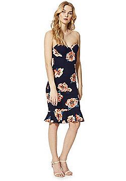 AX Paris Floral Print Flute Hem Strapless Dress - Navy/Orange