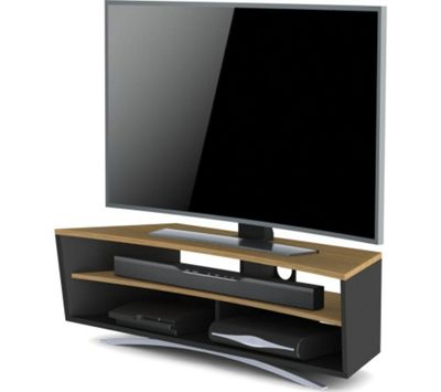 Techlink Prisma PR130SBLO TV Stand - Satin Black & Light Oak
