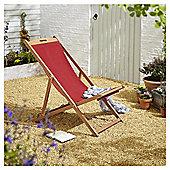 Kingsbury Dark Red Wooden Deck Chair