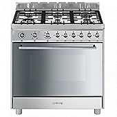 Smeg C9GVXI9 90cm Gas Range Cooker in Stainless Steel | Single Oven & 6 Burners