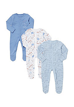 F&F 3 Pack of Sketchy Safari Sleepsuits - Blue & Multi