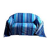 Homescapes Cotton Morocco Striped Blue Throw, 225 x 255 cm