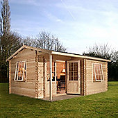 Mercia Garden Products Home Office Executive Log Cabin with Double Door - 250 cm H x 400 cm W x 300 cm D