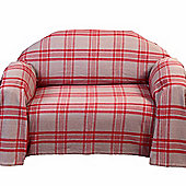 Homescapes Grey & Red Tartan Check Sofa and Bed Throw, 225 x 255 cm