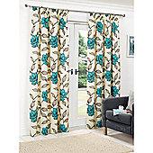 Hamilton McBride Floral Lined Pencil Pleat Curtains - Teal