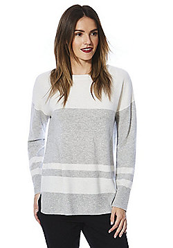 F&F Block Stripe Cashmere Jumper - Cream